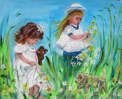Painting - Little Girls Picking Flowers by Lucille  Valentino