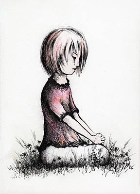 Drawing - Little Girls Prayer by Rachel Christine Nowicki