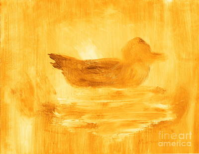 Painting - Little Gold Mallard Sitting In The Water 7 by Richard W Linford
