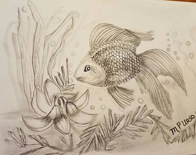 Photograph - Little Goldfish Drawing by Maria Urso