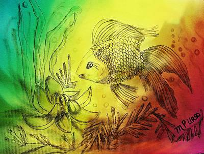 Modern Digital Art Drawing - Little Goldfish by Maria Urso