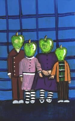 Little Green Apple Head Kids Art Print