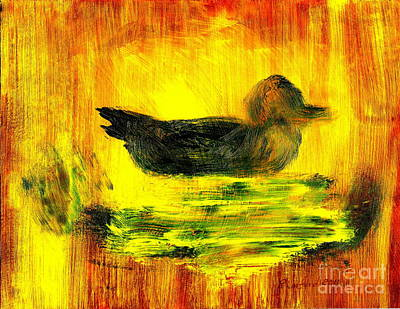 Painting - Little Green Mallard Sitting In The Water 3 by Richard W Linford