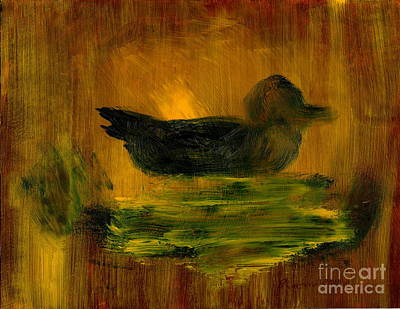 Painting - Little Green Mallard Sitting In The Water 4 by Richard W Linford