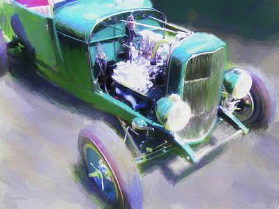 Digital Art - Little Green Roadster by David King