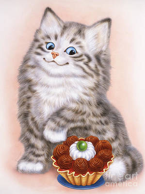 Little Grey Kitten  Art Print