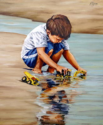 Painting - Little Guy Playing by Natalia Tejera