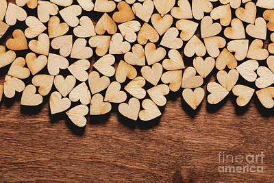 Photograph - Little Hearts On Wooden Background. by Michal Bednarek