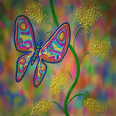 Art Print featuring the digital art Little Hip Butterfly by Kevin Caudill