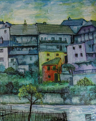 Painting - River Homes by Ron Richard Baviello