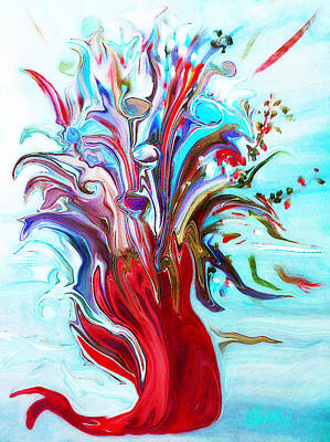 Abstract Little Mermaid Vase  By Sherriofpalmsprings Art Print