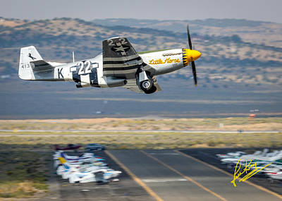 Photograph - P51 Mustang Little Horse Gear Coming Up Friday At Reno Air Races 5x7 Aspect Signature Edition by John King