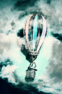 Little Hot Air Balloon Pendant And Clouds Art Print
