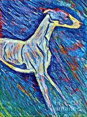 Whippet Digital Art - Little Hound In Blue by Meegan Pierotti-Tietje