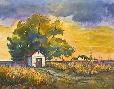 Dolores Painting - Little House By The Tracks by Dolores Mitchell
