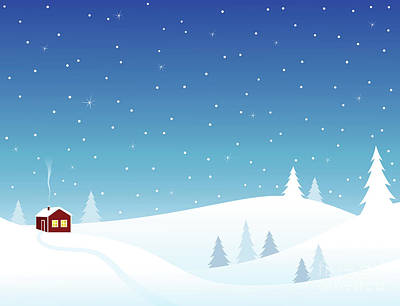 Little House In Snowy Hills Art Print by GoodMood Art