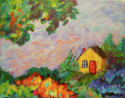 Colorful Painting - Little House by Peggy Johnson