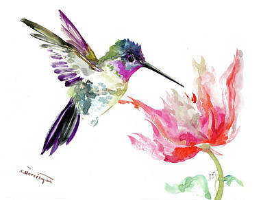 Painting - Little Hummingbird And Big Flower by Suren Nersisyan