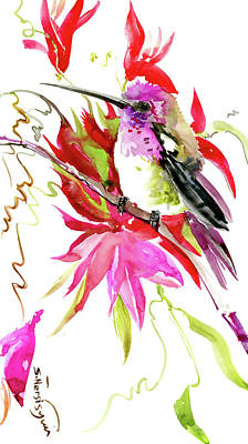Painting - Little Hummingbird And Red Tropical Flowers by Suren Nersisyan