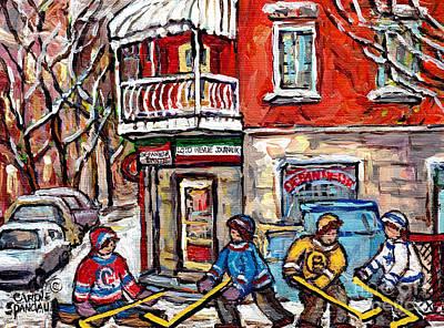 Painting - Little Italy Montreal Winterscene Painting For Sale Snowy Hockey Scene Depanneur Dante C Spandau Art by Carole Spandau