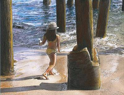 Little Jessica And Her Hat Malibu Pier  Art Print by Randy Sprout