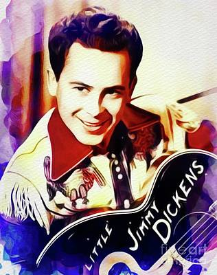 Music Paintings - Little Jimmy Dickens, Country Music Legend by Esoterica Art Agency