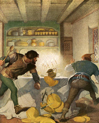 Ceramic Plate Painting - Little John Fights With The Cook In The Sheriff's House by Newell Convers Wyeth