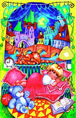 Astronomical Clock Painting - Little Katya by Inga Konstantinidou