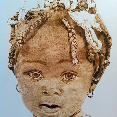 Pyrography On Wood Pyrography - Little Kisha by Marsha Wilson