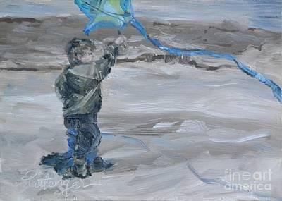 Children Flying Kite Painting - Little Kite Flyer by Lori Pittenger