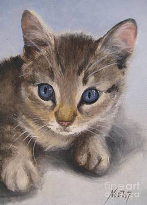 Print featuring the painting Little Kitty by Jindra Noewi