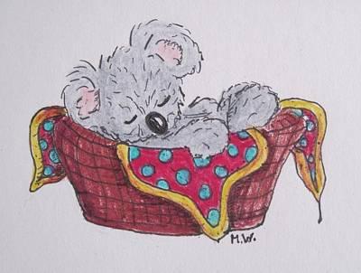 Drawing - Little Koala, Fast Asleep by Megan Walsh