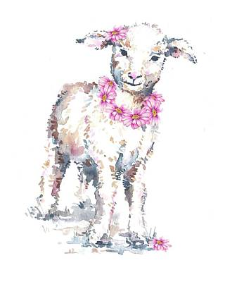 Painting - Little Lamb And Pink Daisies by Heidi Kriel