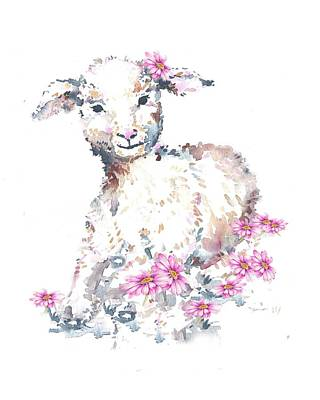 Painting - Little Lamb And Pink Dasies by Heidi Kriel