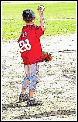 Second Base Digital Art - Little League Baseball Player, Second Baseman, Poster Image by A Gurmankin