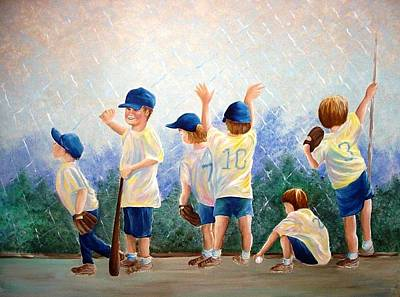 Baseball Murals Painting - Little League by Melissa Wiater Chaney