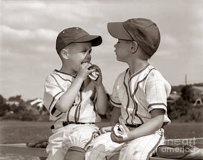 Little Leaguers Eating Hot Dogs, C.1960s Art Print by H. Armstrong Roberts/ClassicStock