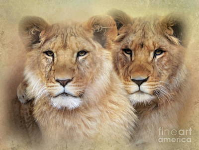 Art Print featuring the digital art Little Lions by Trudi Simmonds