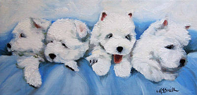 White Dog Painting - Little Liter by Mary Sparrow