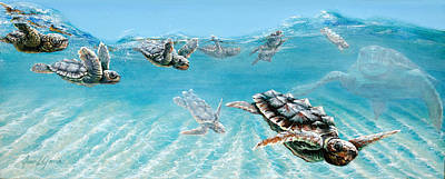 Baby Sea Turtle Painting - Little Loggerheads by Joan Garcia