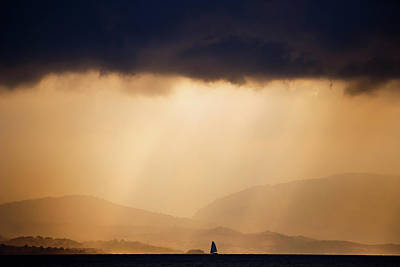 Corfu Photograph - Little Lonely Lost Boat Facing The Storm by Roeselien Raimond