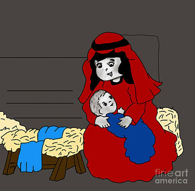 Little Mary And Baby Jesus In Red And Blue Art Print by Sonya Chalmers