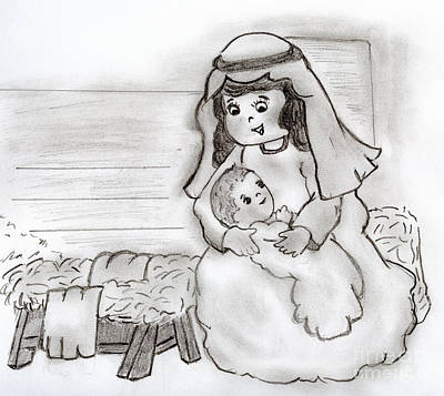 Jesus Drawing - Little Mary And Baby Jesus by Sonya Chalmers