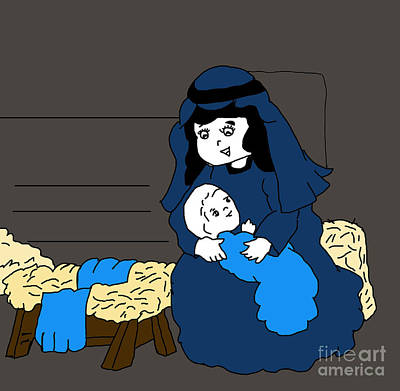 Manger Digital Art - Little Mary And Jesus In Blues by Sonya Chalmers