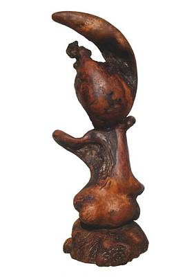 Sculpture - Little Me - Redwood Abstract  by Daryl Stokes