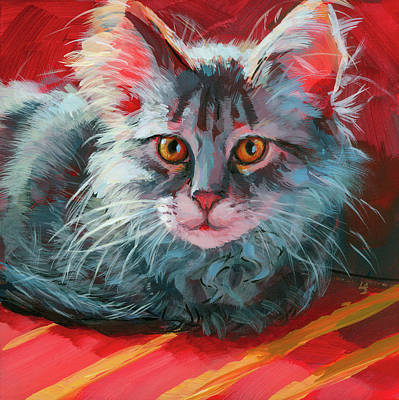 Art Print featuring the painting Little Meow Meow by Lesley Spanos