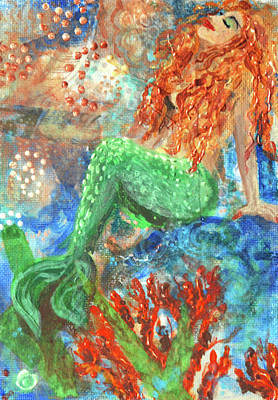 Nursery Rhyme Mixed Media - Little Mermaid by Jennifer Kelly