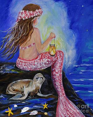 Painting - Little Mermaids Night Buddy by Leslie Allen