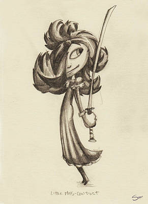 Drawing - Little Miss-conduct by Sean McMenemy