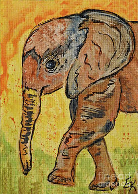 Painting - Little Miss Elephant Art Print by Ella Kaye Dickey